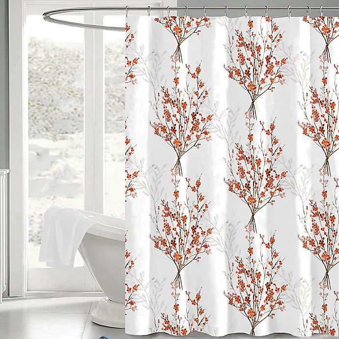 Brielle 72 Inch X Fabric Shower Curtain In White Orange