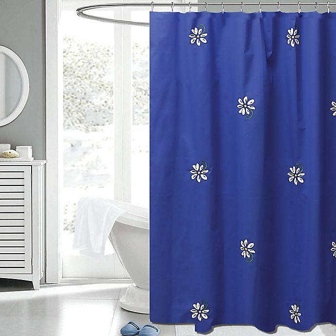 Alternate image 1 for Gerber Daisy 72-Inch x 72-Inch Fabric Shower Curtain in Navy/White