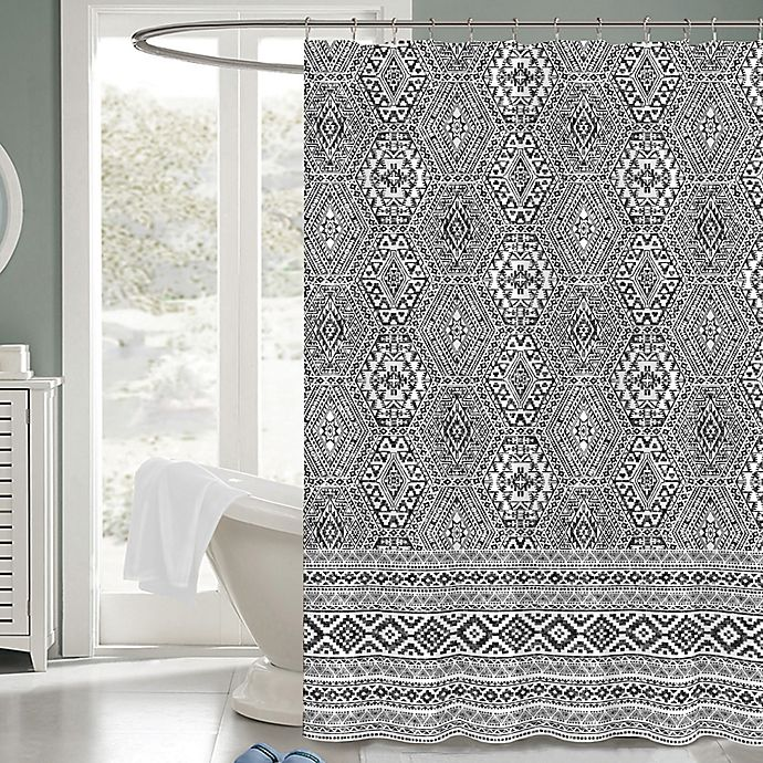 Alternate image 1 for Medina 72-Inch x 72-Inch Fabric Shower Curtain in Black/White