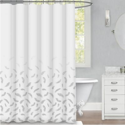 Feather 72 Inch X Shower Curtain In Silver