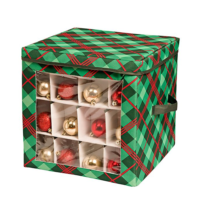 Alternate image 1 for Honey-Can-Do® 48-Count Plaid Ornament Storage Container in Red/Green