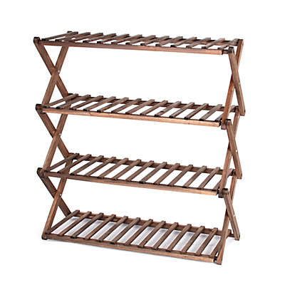 Lifestyle Home 4-Tier Wood Shoe Rack in Dark Brown