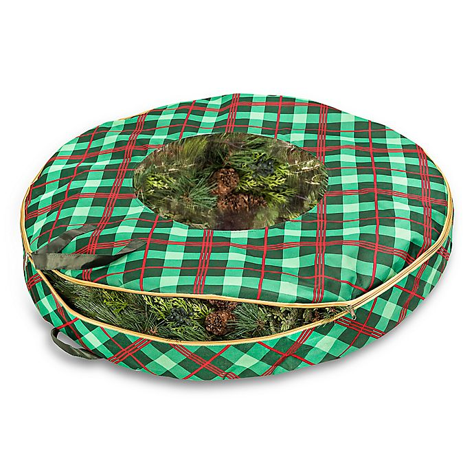 Alternate image 1 for Honey-Can-Do® 36-Inch Christmas Wreath Plaid Storage Bag