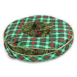 Honey-Can-Do® 36-Inch Christmas Wreath Plaid Storage Bag