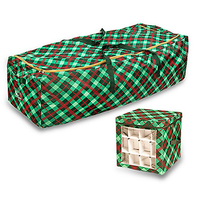 Alternate image 1 for Honey-Can-Do® Plaid Rolling Tree Storage Bag & Ornament Storage Cube