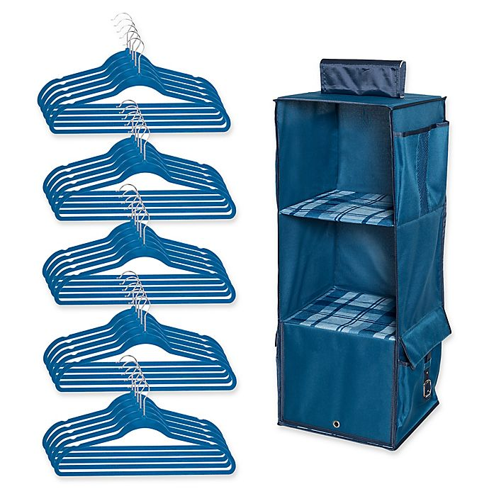 Alternate image 1 for Honey-Can-Do® 2-Piece Closet Organization Kit in Blue