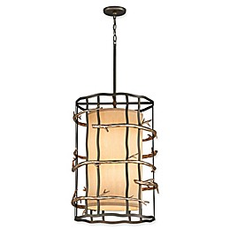 Troy Lighting Adirondack 6-Light Ceiling Pendant in Silver Leaf with Beige Linen Shade