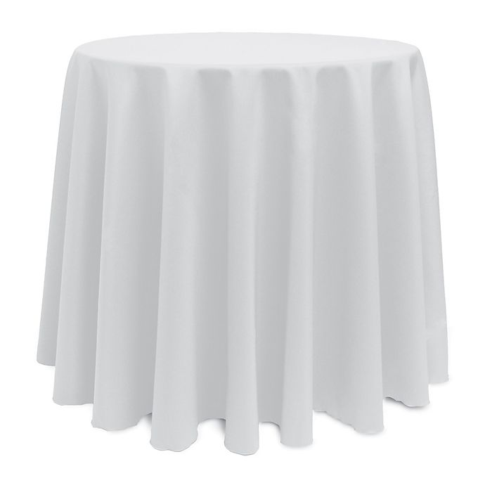 Alternate image 1 for Basic Polyester 102-Inch Round Tablecloth in White