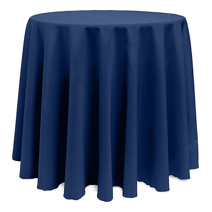 Alternate image 1 for Basic 114-Inch Round Tablecloth in Navy