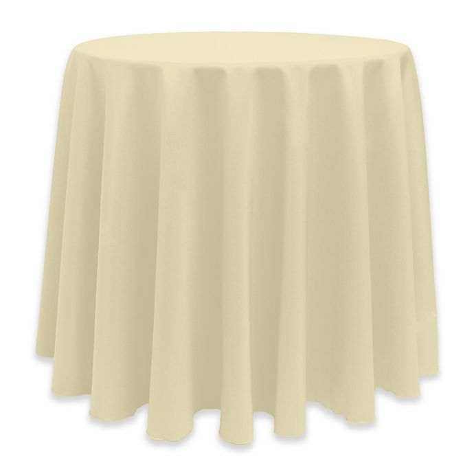 Alternate image 1 for Basic 114-Inch Round Tablecloth in Tan