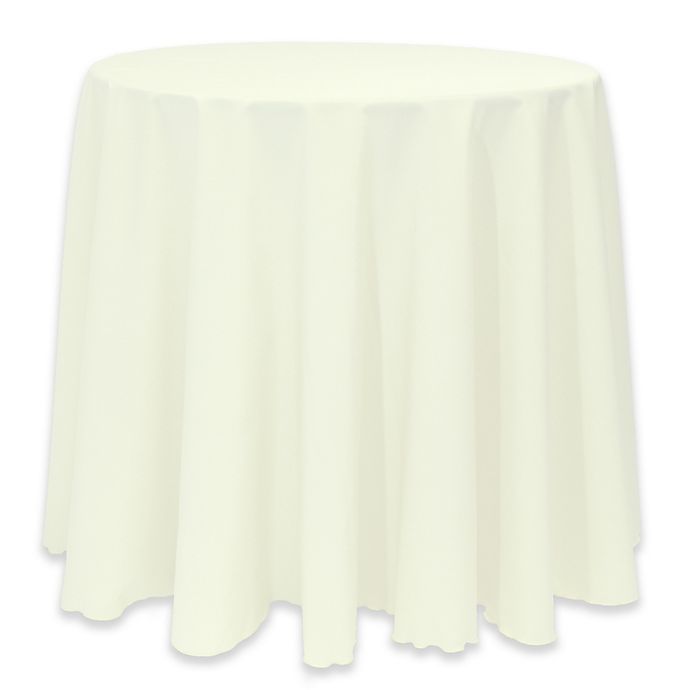 Alternate image 1 for Basic 114-Inch Round Tablecloth in Oyster