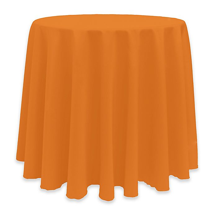 Alternate image 1 for Basic 114-Inch Round Tablecloth in Orange
