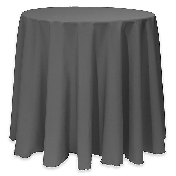 Alternate image 1 for Basic 114-Inch Round Tablecloth in Charcoal