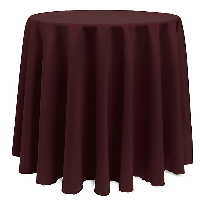 Alternate image 1 for Basic 114-Inch Round Tablecloth in Burgundy