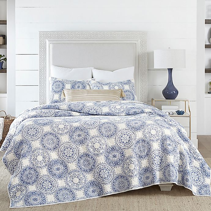 Alternate image 1 for Coastal Living Indigo Coastal Medallion Quilt Set