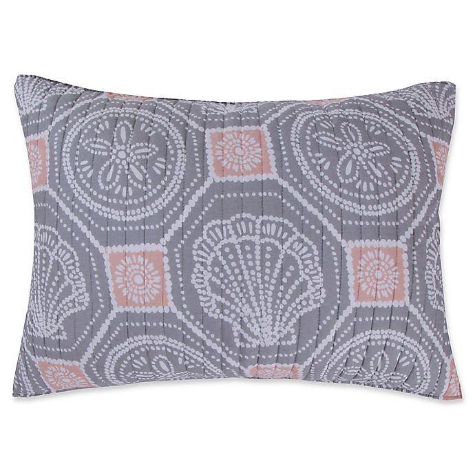Alternate image 1 for Levtex Home Sea Isle Standard Pillow Sham in Grey/Pink