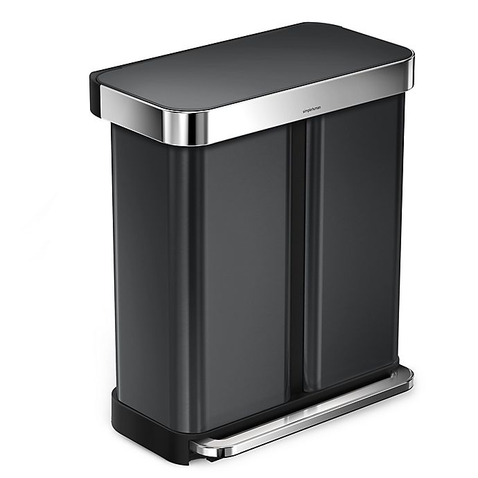 Alternate image 1 for simplehuman® Dual Compartment Rectangular 58-Liter Step Trash Can in Black Stainless Steel