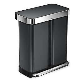 simplehuman® Dual Compartment Rectangular 58-Liter Step Trash Can