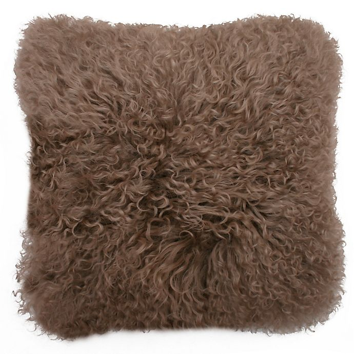 Alternate image 1 for Thro Mongolian Fur Square Throw Pillows with Faux Suede Back