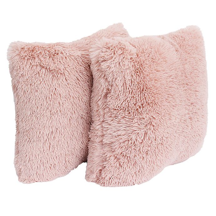 Alternate image 1 for Thro Chubby Faux Fur Square Decorative Pillows (Set of 2)