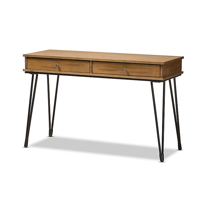 Alternate image 1 for Baxton Studio Toma Rustic Metal and Wood 2-Drawer Storage Desk in Brown/Black