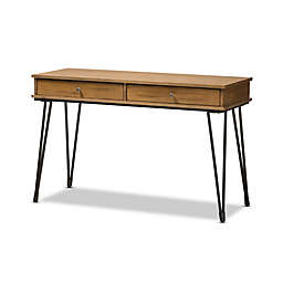 Baxton Studio Toma Rustic Metal and Wood 2-Drawer Storage Desk in Brown/Black