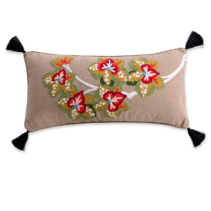 Alternate image 1 for Levtex Home Teraina Flowers Oblong Throw Pillow in Green