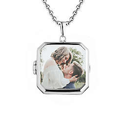 With You Lockets Sterling Silver 18-Inch Chain Glass Billie Photo Locket Necklace