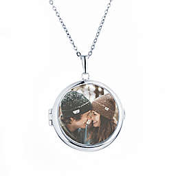 With you Lockets Sterling Silver Zoe Glass Photo Locket Necklace