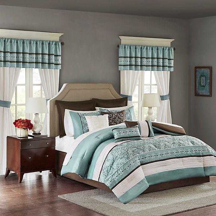 Alternate image 1 for Madison Park Essentials Jelena 24-Piece Queen Complete Comforter Set in Seafoam