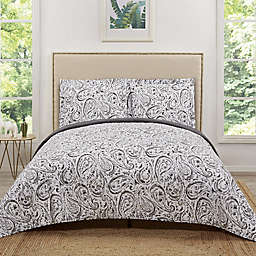 Truly Soft Water Color Paisley Reversible Quilt Set