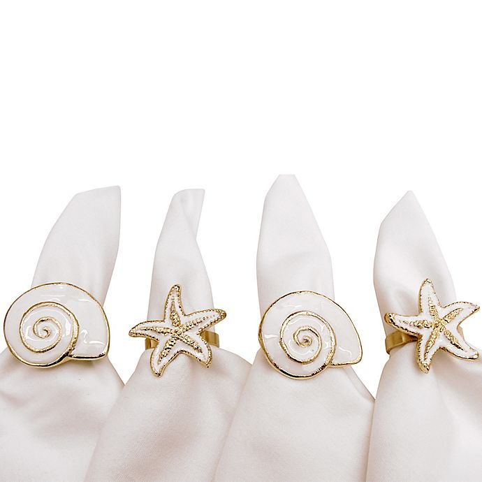 Alternate image 1 for Mixed Shells Napkin Rings (Set of 4)