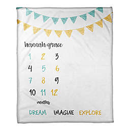 Designs Direct Dream Explore Fleece Milestone Throw Blanket in White