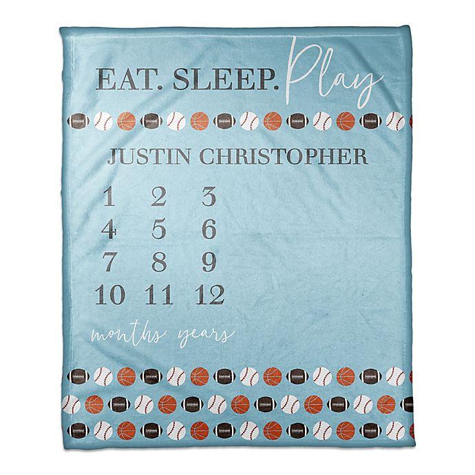 Alternate image 1 for Designs Direct Eat Sleep Play Fleece Milestone Throw Blanket in Blue