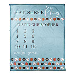 Designs Direct Eat Sleep Play Fleece Milestone Throw Blanket in Blue