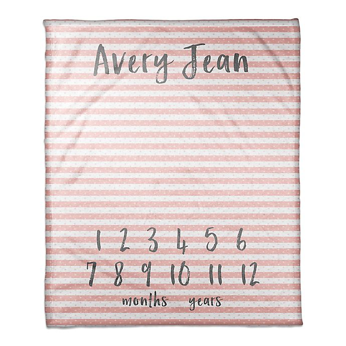 Alternate image 1 for Designs Direct Stripes and Dots Milestone Throw Blanket in Pink