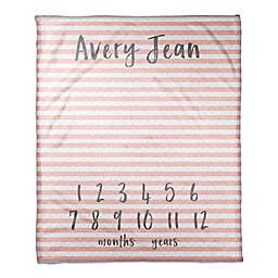 Designs Direct Stripes and Dots Milestone Throw Blanket in Pink