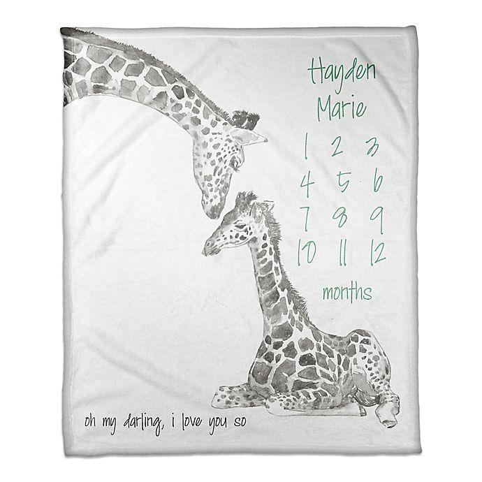 Alternate image 1 for Designs Direct Darling Giraffe Milestone Throw Blanket in Grey