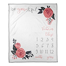 Designs Direct Be-You-Tiful Milestone Throw Blanket in White