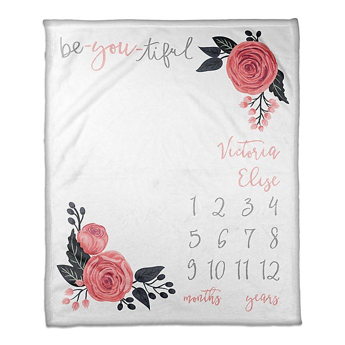 Alternate image 1 for Designs Direct Be-You-Tiful Milestone Throw Blanket in White