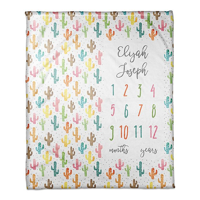 Alternate image 1 for Designs Direct Colorful Cacti Milestone Throw Blanket in White