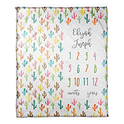 Designs Direct Colorful Cacti Milestone Throw Blanket in White