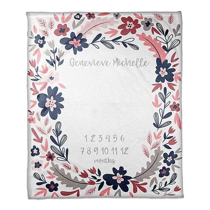 Alternate image 1 for Designs Direct Navy Florals Milestone Throw Blanket in Pink