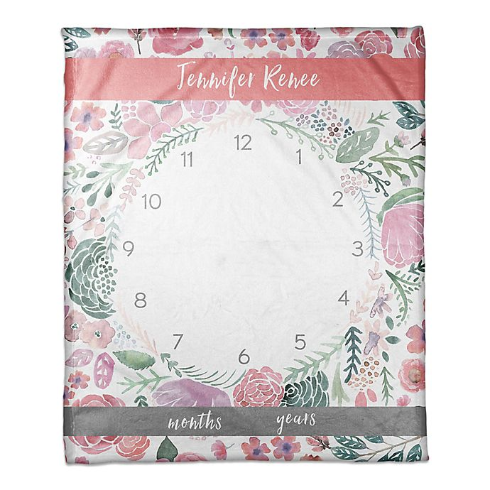 Alternate image 1 for Designs Direct Pink Florals Milestone Throw Blanket in Pink