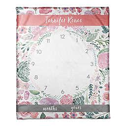 Designs Direct Pink Florals Milestone Throw Blanket in Pink