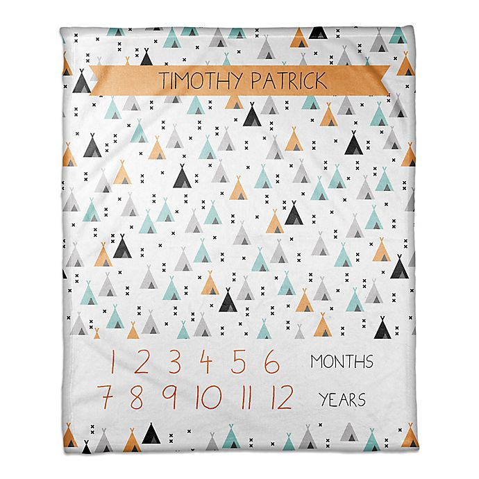 Alternate image 1 for Designs Direct Teepee Pattern Milestone Throw Blanket in White