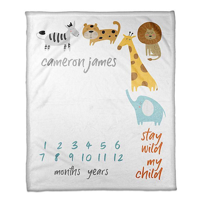 Alternate image 1 for Designs Direct Stay Wild Milestone Throw Blanket in White