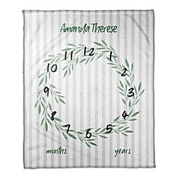 Designs Direct Botanical Stripes Milestone Throw Blanket in White
