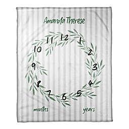 Designs Direct Botanical Stripes Milestone Throw Blanket in White