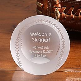Welcome Slugger! Engraved Glass Baseball